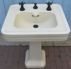 pedestal kitchen sink antique vintage colored bathroom fixture 1441