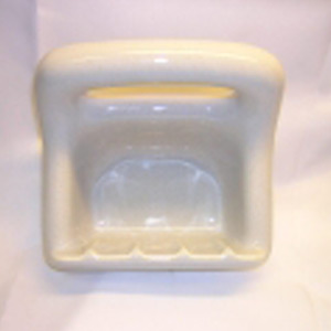 Vintage Light Grey w/ Brown Flecks Soapdish/Cloth Holder