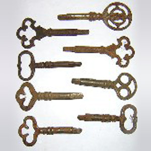 Antique Fancy Bow Sewing Machine Treadle Keys, 10 pack
