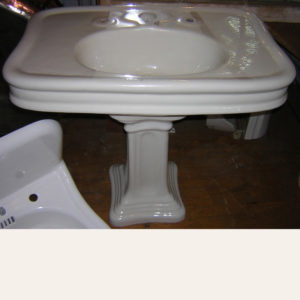 Antique 1912 Wolff Monarch Earthenware Pedestal Sink