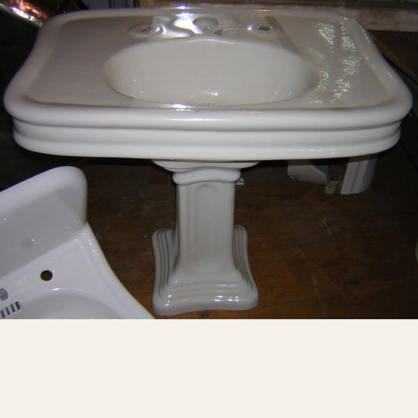 Antique 1912 Wolff Monarch Earthenware Pedestal Sink