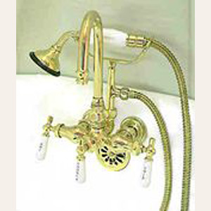 Gooseneck Clawfoot Tub Filler w/ Diverter and Handshower