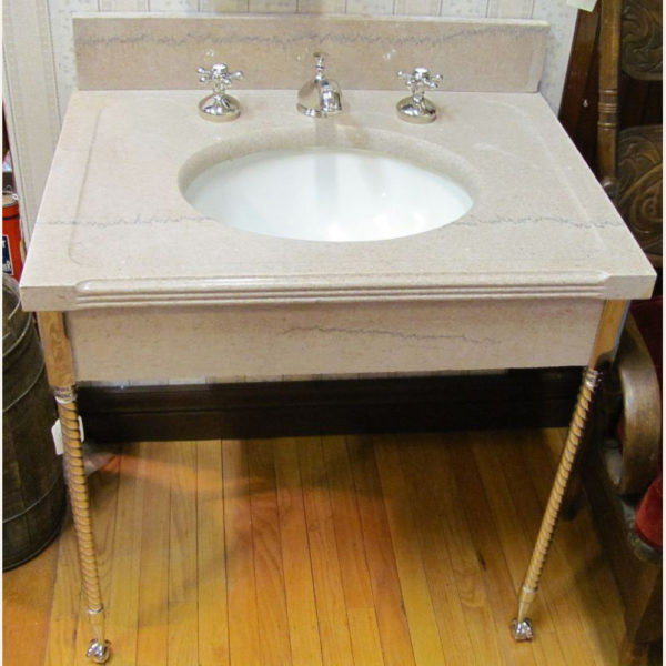 1908 Antique Marble Console Lavatory Sink