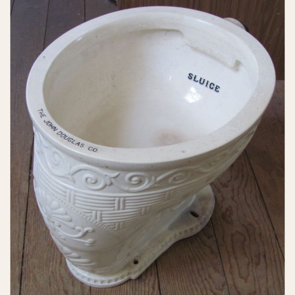 1895 Vintage John Douglas Raised Ornamentation Wash Out Toilet Bowl