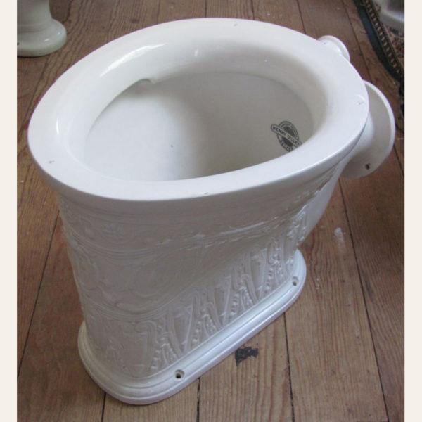 Circa 1890 Vintage Henry Gillett Raised Ornamentation Toilet Bowl