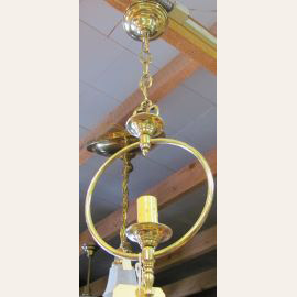 1930's Vintage hanging brass light fixture