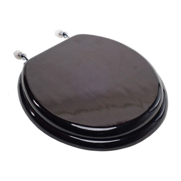 Walnut Stained Oak Round Front Toilet Seat w/ Chrome Hinge