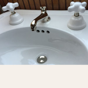Porcelain Cross Widespread Lavatory Faucet