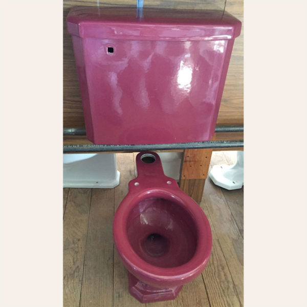 1931 Vintage Standard Devoro Toilet Set in Tang red