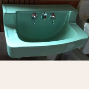 1951 Vintage Briggs Green China Lavatory Sink