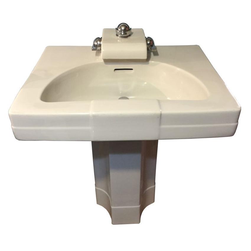 1927 Antique Crane Neuvogue China Pedestal Sink Dea Bathroom Machineries
