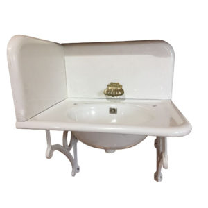 Antique Circa 1915 Standard Cast Iron 3-PC Lavatory Corner Sink