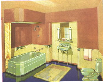 1930 Washington Pottery Manufacturer's drawing of a classic 30's Art Deco bathroom