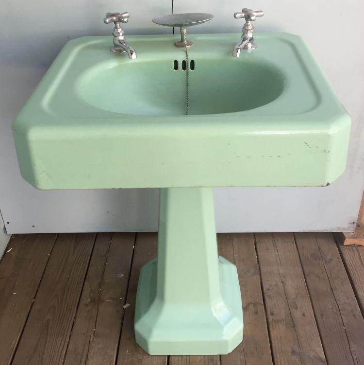 1930 S Vintage Standard Ming Green Cast Iron Pedestal Sink Prop Al