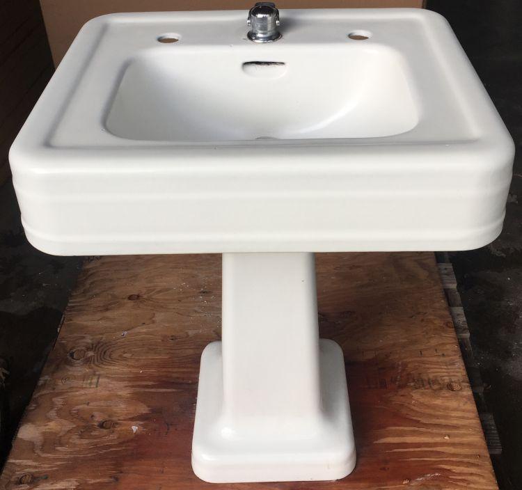 Circa 1935 Crane Corwith Cast Iron Pedestal Sink Prop Rental Dea Bathroom Machineries